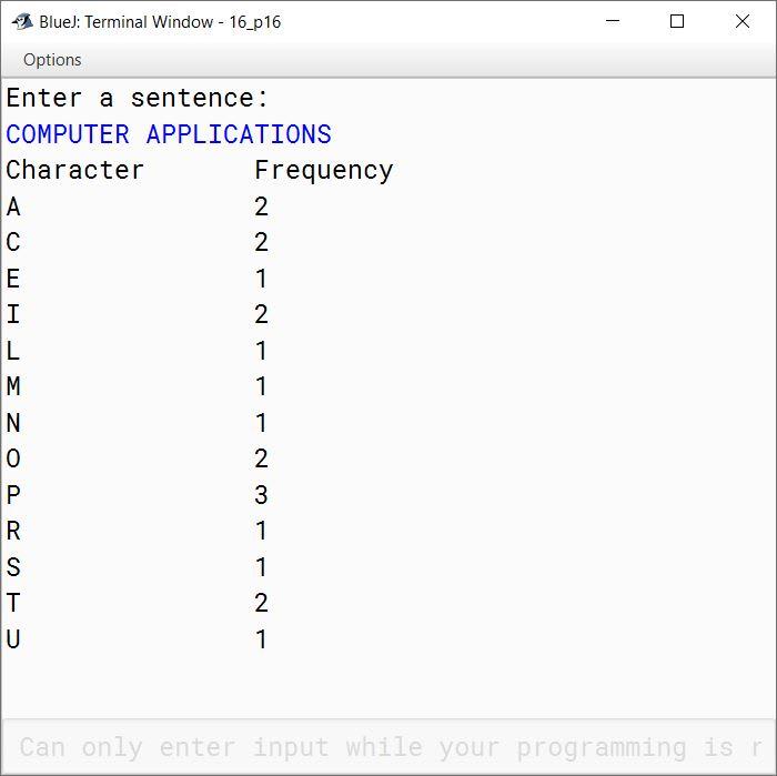 BlueJ output of KboatLetterFreq.java