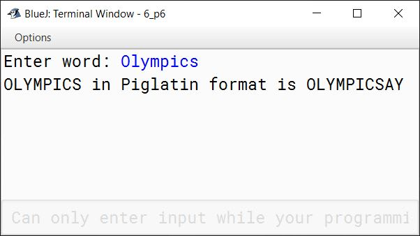 BlueJ output of KboatPigLatin.java