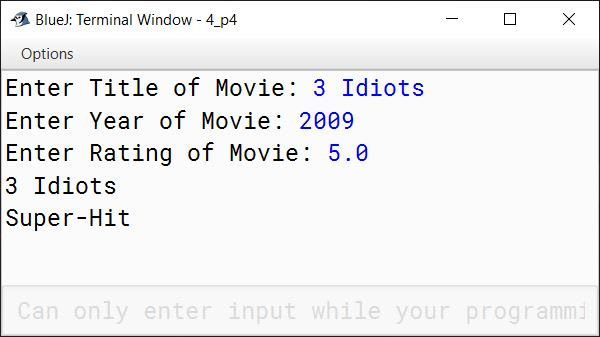 BlueJ output of movieMagic.java
