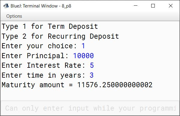 BlueJ output of KboatBankDeposit.java