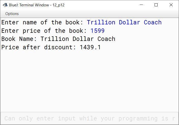 BlueJ output of BookFair.java