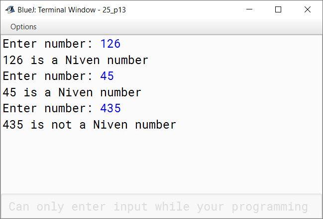 BlueJ output of KboatNivenNumber.java