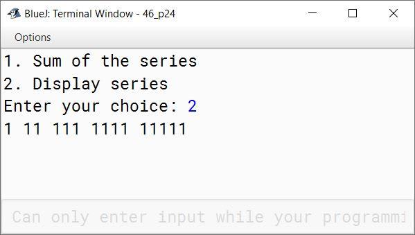 BlueJ output of KboatSeriesMenu.java