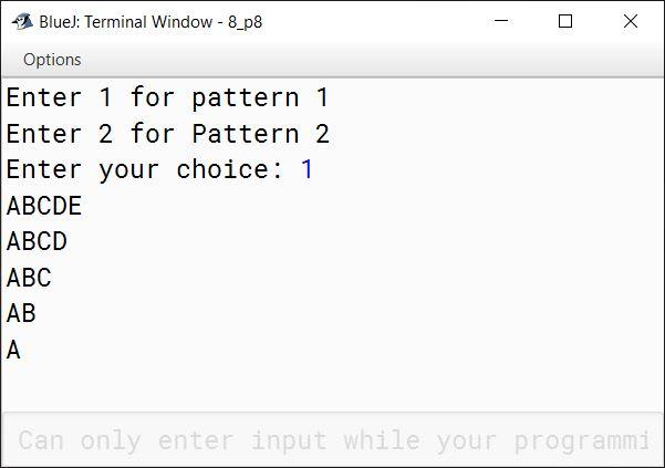 BlueJ output of KboatMenuPattern.java
