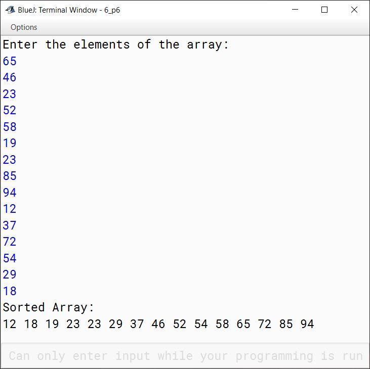 BlueJ output of KboatBubbleSort.java