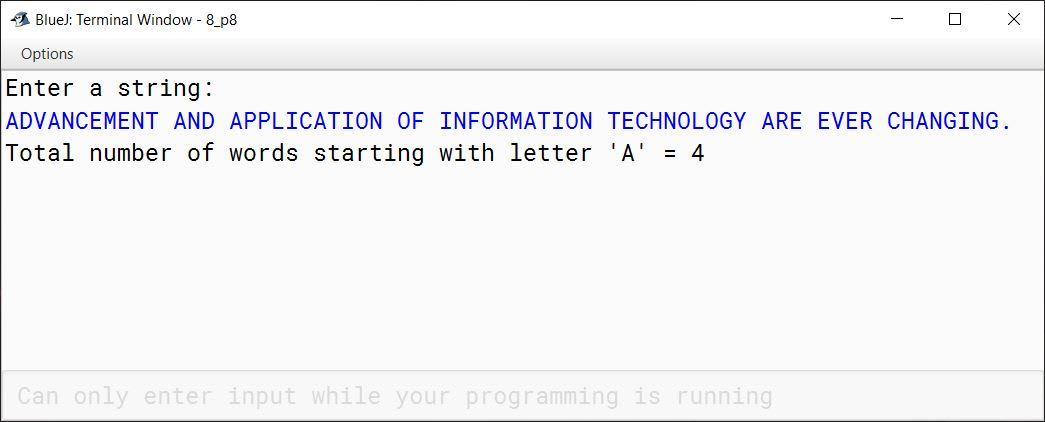 BlueJ output of WordsWithLetterA.java