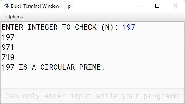 BlueJ output of CircularPrime.java