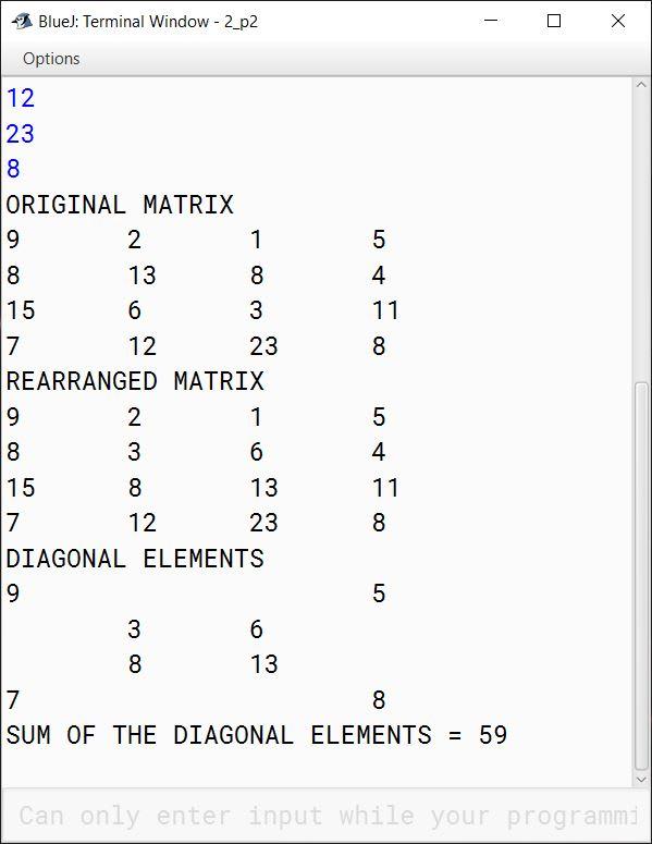 BlueJ output of MatrixSort.java