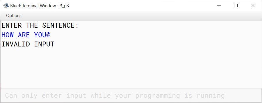 BlueJ output of VowelWord.java