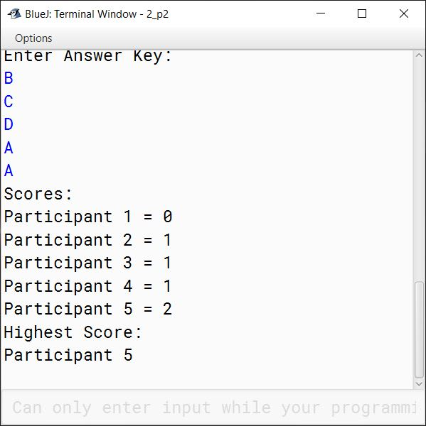 BlueJ output of QuizCompetition.java