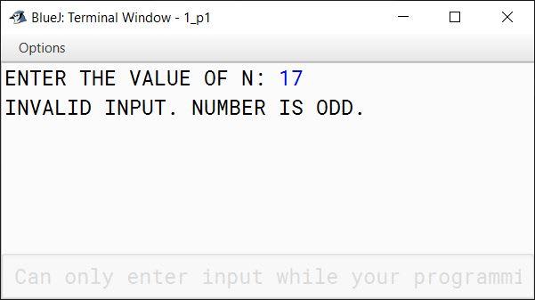 BlueJ output of GoldbachNumber.java