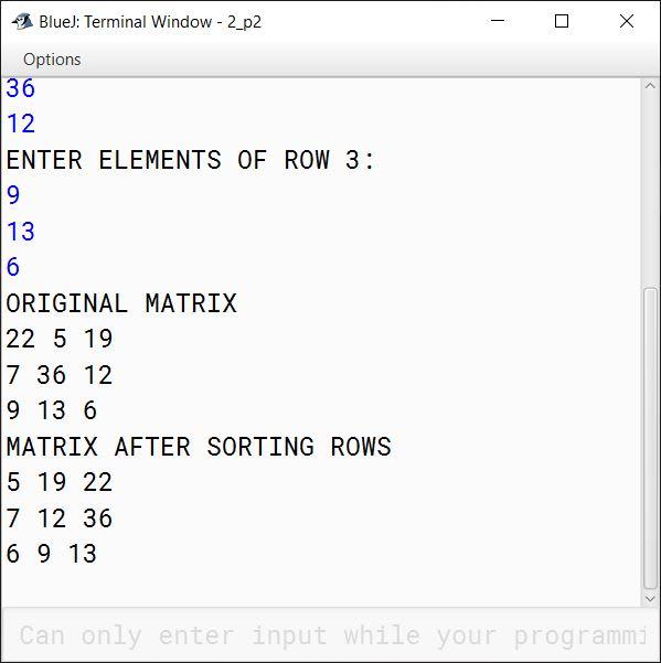 BlueJ output of ArraySort.java