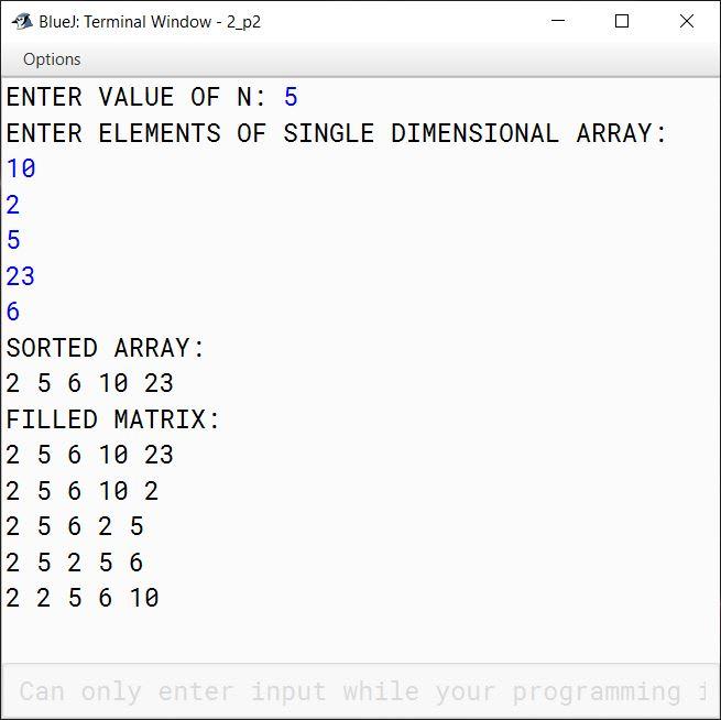 BlueJ output of Array.java