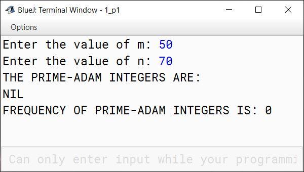 BlueJ output of PrimeAdam.java