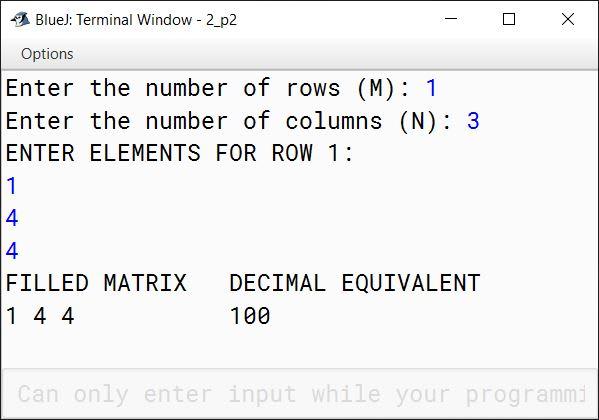BlueJ output of OctalMatrix.java