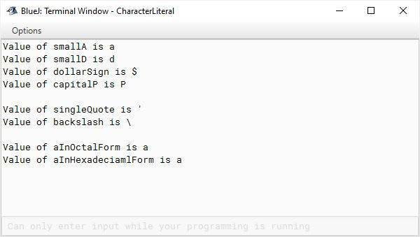 BlueJ output of Java program demonstrating character literals for ICSE Computer Applications course