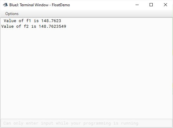 BlueJ output of program demonstrating double data type in Java
