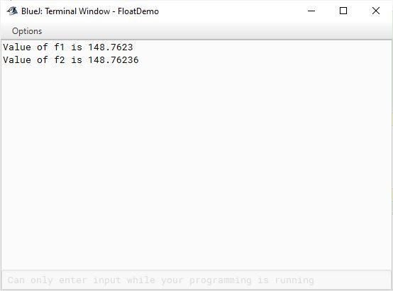 BlueJ output of program demonstrating float data type in Java