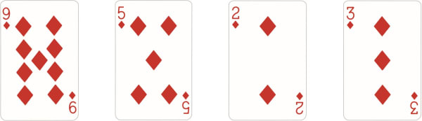Bubble Sort method to sort four playing cards