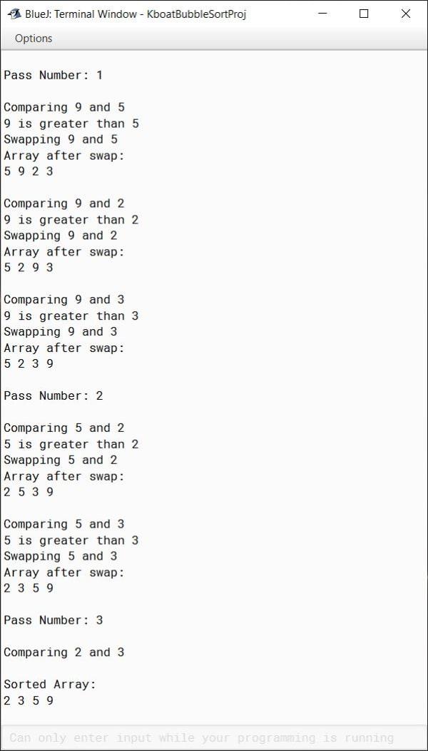 Bubble Sort Java Program in BlueJ Verbose Output