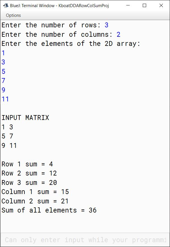 Output of row-wise sum, column-wise sum and sum of all elements BlueJ Java program