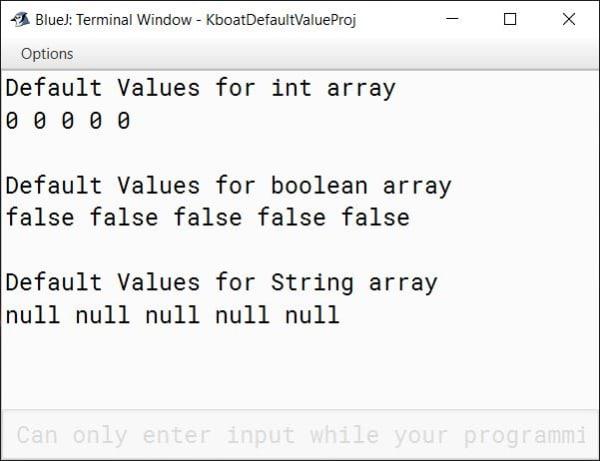 BlueJ output of Linear Search Java program