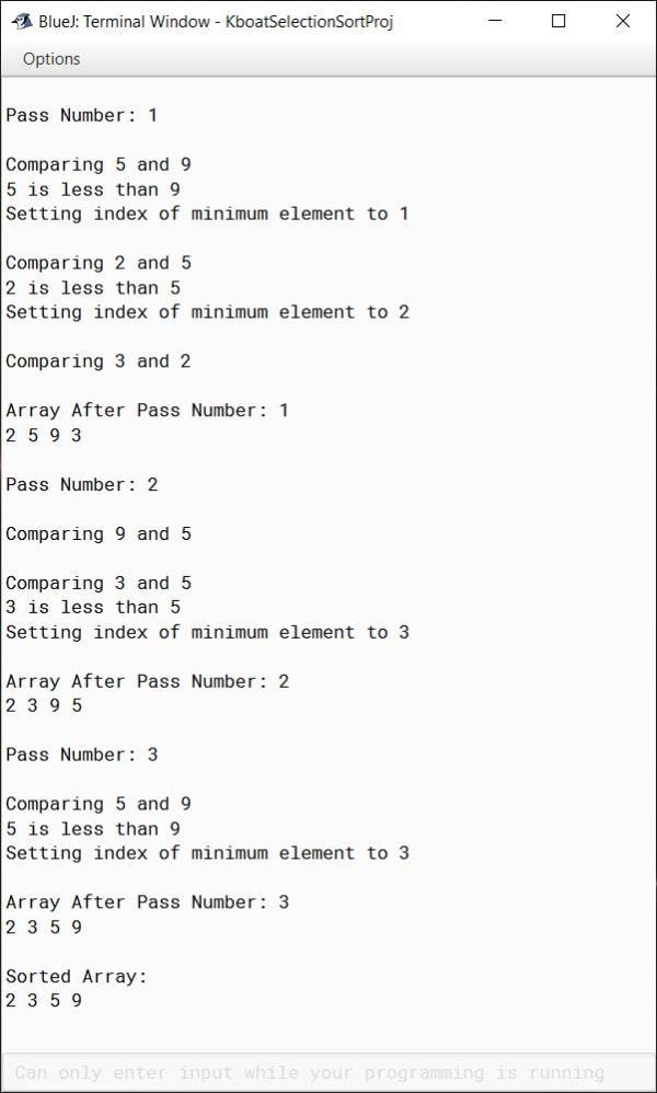 Selection Sort Java Program in BlueJ Verbose Output