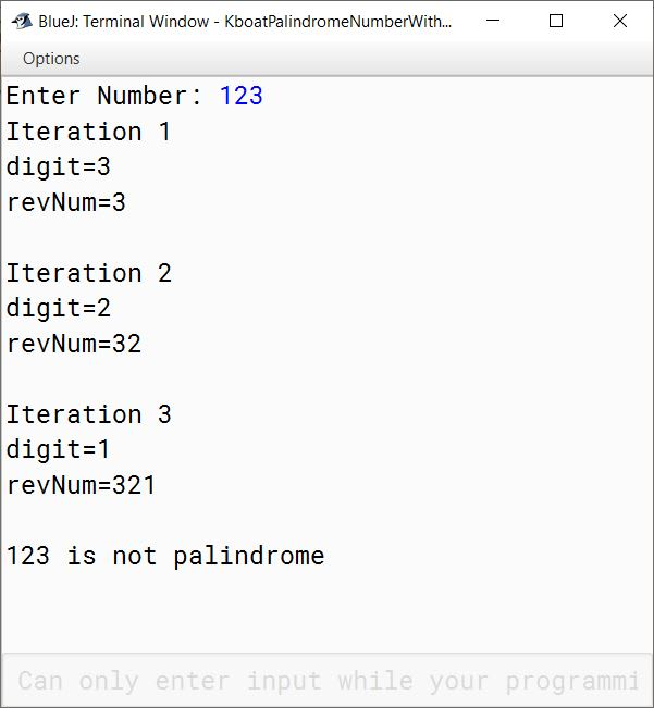 BlueJ output of palindrome number check program for number 123