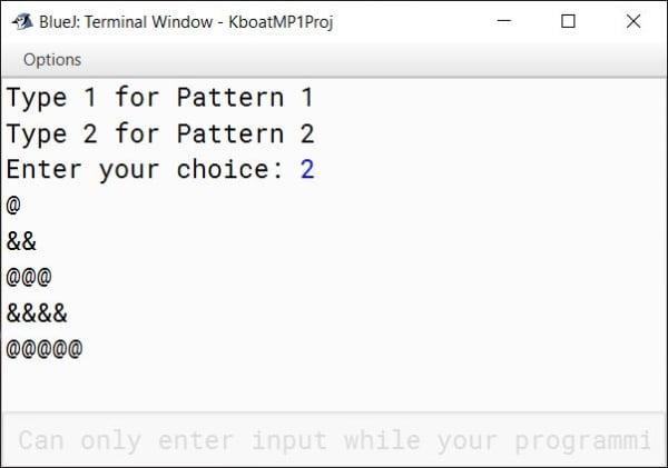BlueJ output of switch statement based Pattern program in Java for ICSE Computer Applications course