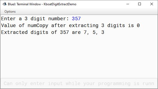 BlueJ output of Java program to extract digits of number 357 for ICSE Computer Applications course