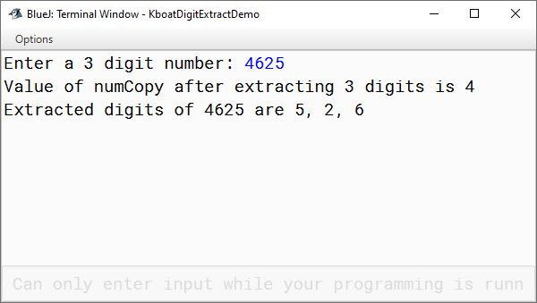 BlueJ output of Java program to extract digits of number 4625