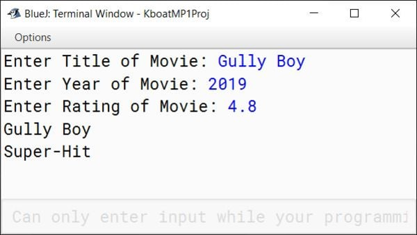 BlueJ output of Movie Rating Class Java program for ICSE Computer Applications course
