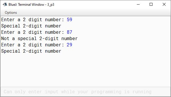 BlueJ output of Special number Java program for ICSE Computer Applications course