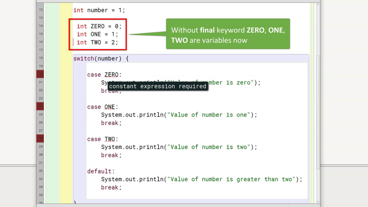Java program showing error due to using variables as case values