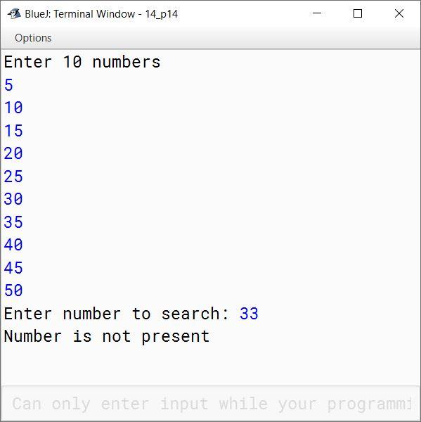 BlueJ output of KboatSDASearch.java