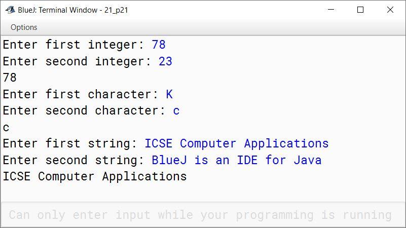 BlueJ output of KboatCompare.java