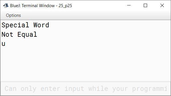 BlueJ output of KboatWordCheck.java