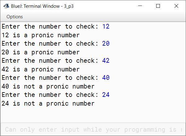 BlueJ output of KboatPronicNumber.java