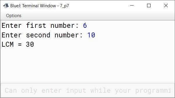 BlueJ output of KboatGlcm.java