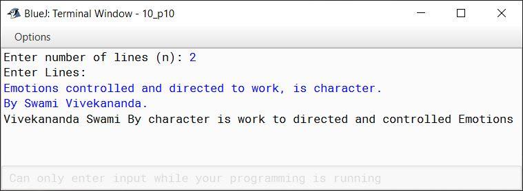 BlueJ output of KboatTextReverse.java