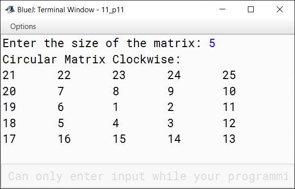 BlueJ output of KboatMatrixClockwise.java