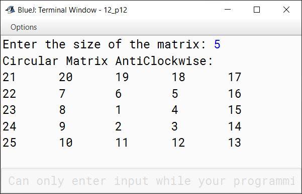 BlueJ output of KboatMatrixAntiClockwise.java