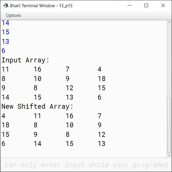 BlueJ output of KboatSDAColShift.java