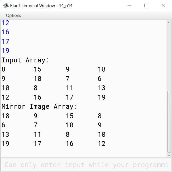 BlueJ output of KboatSDAMirrorImage.java