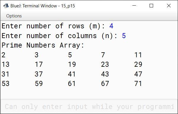 BlueJ output of KboatSDAPrime.java