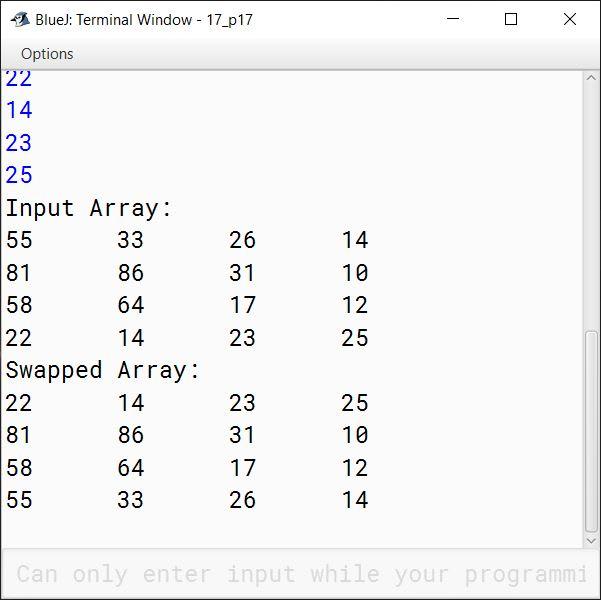 BlueJ output of KboatDDARowSwap.java