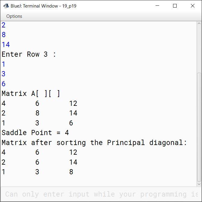 BlueJ output of KboatDDASaddlePoint.java