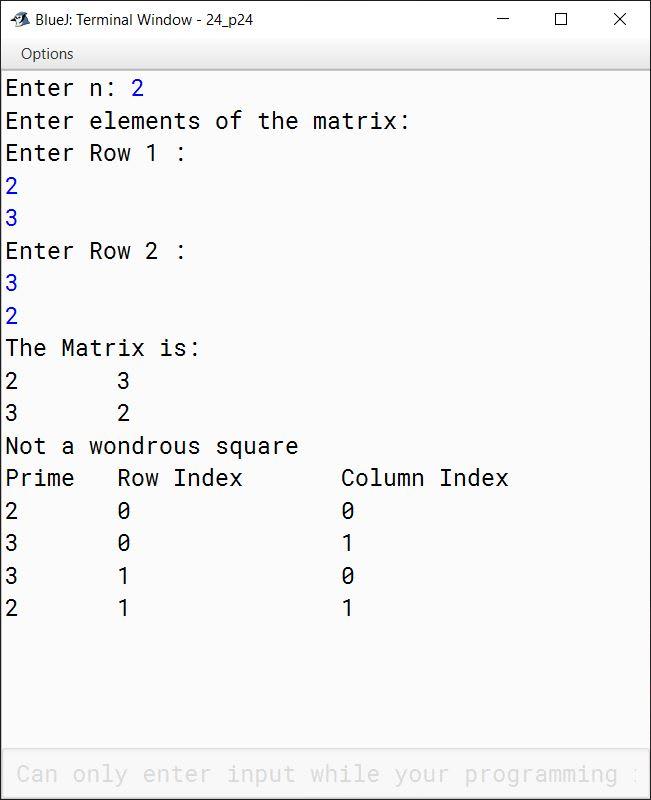 BlueJ output of KboatWondrousSquare.java