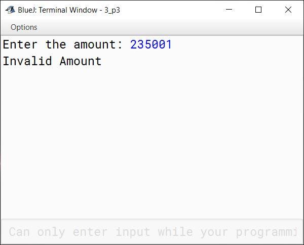 BlueJ output of KboatDenominations.java