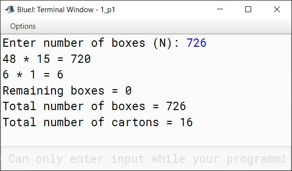 BlueJ output of CartonBoxes.java